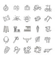 archeology line icons set vector image