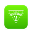 badminton icon green vector image vector image