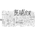 behavior contracts text word cloud concept vector image vector image