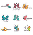 butterfly colorful ornate icons vector image