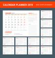calendar planner stationery design template 2019 vector image