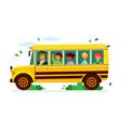 children on school bus - colorful flat design vector image vector image