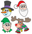 christmas faces collection vector image