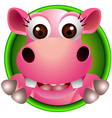 cute hippo head cartoon vector image vector image