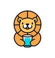cute lion glass cup drink cartoon playful logo vector image vector image