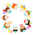 cute multicultural kids party template vector image vector image