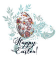 easter greeting card with egg decorated swirls vector image vector image
