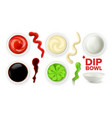 empty dip bowl and full with sauce set vector image