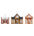 exterior of catholic or protestant church set vector image