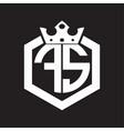 fs logo monogram rounded hexagon shape vector image vector image