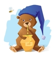 Funny bear with honey vector image
