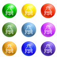 glass chemistry flask icons set vector image vector image