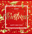 golden christmas text and confetti in square frame vector image vector image