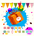 Happy Birthday - Gift Box with Flags and Blots - vector image