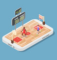 isometric basketball court with players vector image