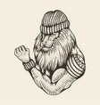 lion strong smoke hand drawn vector image