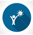 man with idea in hand icon vector image vector image