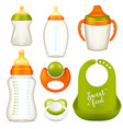 Nurser baby bottles collection vector image