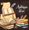 retro bookstore rare vintage books literature vector image