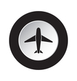 round black and white button - airplane icon vector image