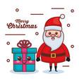 santa claus with gift character christmas card vector image vector image