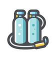 scuba tanks oxygen cylinders icon cartoon vector image