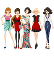 set of fashion model character vector image