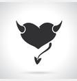 silhouette devil heart vector image