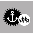 Silhouette family vacation sailor anchor