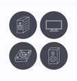 Sound club music and pc case icons vector image vector image