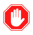 stop sign red forbidding sign with human hand in vector image