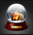 transparent sphere with fir balls and snow highly vector image