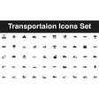 vehicles and transportation icon set solid black vector image vector image