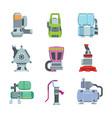 water pumps electric and gasoline set compressor vector image vector image