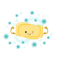 yellow cute soap acting as a strong brave vector image vector image