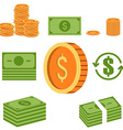 Set of the money icons Coins and paper money vector image