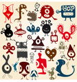 many cute doodle monsters set vector image