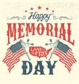 happy memorial day vintage greeting card vector image