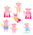 a set of funny pig characters the king and queen vector image vector image
