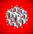 Abstract figure from 3d metal cubes on red vector image vector image