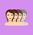aging process four stages of face changing vector image vector image