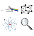 atom and prism magnifier and crystal lattice vector image
