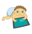baby playing with digital tablet vector image vector image