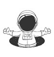 baby spaceman peeps out from hole space vector image vector image