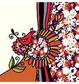 Bird and flowers background vector image vector image