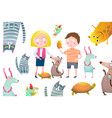 boy and girl kids with pets collage design vector image vector image