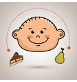 boy fruit cake dessert vector image