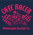 cafe racer skull motorcycle shirt design vector image