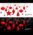 christmas and new year red ornament bauble banners vector image vector image