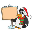 christmas penguin with sign vector image vector image